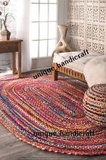 "6x9""""Feet Indian Braided Oval Cotton Rug Rag Floor Decor Rugs Hand Woven Rug Mat"