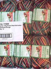 Knitting Wool 6 X 100g Acrylic Yarn 8ply Multi Colour Grey Red Green Orange