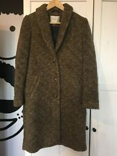 Stunning Selected Femme Boucle Wool Oversized Winter Coat Size 36 8 10 Brown