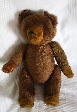schöner brauner Teddybär, Glasaugen, Holzwolle, brummt nicht mehr, Stehfüsse