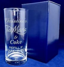 PERSONALISED ENGRAVED TIA MARIA GLASS TIA MARIA AND COKE GLASS GIFT BOXED