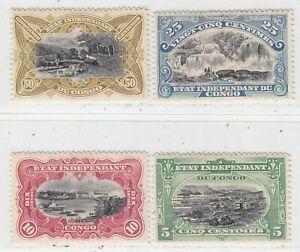 BELGIUM  CONGO  1909 ISSUE FULL SET UNUSED SCOTT 41/44
