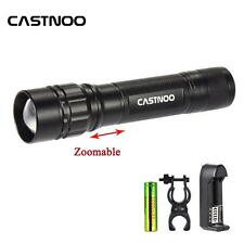 Zoomable 6000 LM CREE LED Flashlight +18650 Battery+3.7V Charger +Light Clamp SP