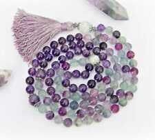 Fluorite Amethyst Rainbow Moonstone 8MM Mala necklaces knotted yoga tassel