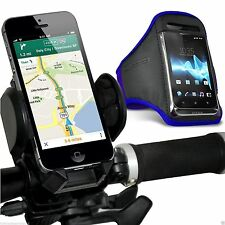 Quality Bike Bicycle Handlebar Phone Holder+Sports Armband Case Cover✔Blue