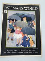 1934 April WOMAN'S WORLD Magazine Fashion Hooked Rugs Miriam Story Hurford Cover