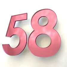 Floating House Numbers & fixings, Century Gothic, Pink Mirror
