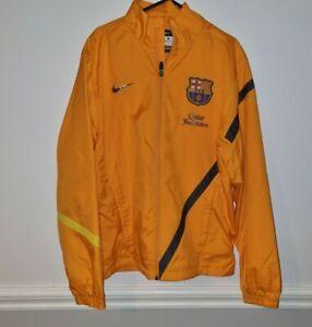BARCELONA Nike Orange Coat Men's Small Windbreaker Zip Jacket Nt Football Shirt
