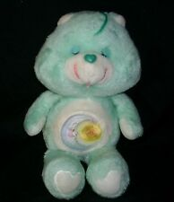 "13"" VINTAGE 1983 CARE BEARS BED TIME BEAR GREEN STUFFED ANIMAL PLUSH TOY KENNER"