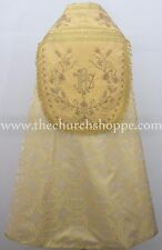 Metallic Yellow Cope & Stole Set with IHS embroidery,capa pluvial,far fronte,NEW