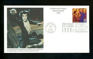 """US FDC #3190b Mystic Cachet CTC 1980's Musical Smash 1982 """"Cats"""" plays shows"""