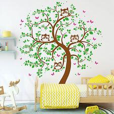 Eulen Baum Schmetterlinge (3farbig) 126x148 von Wandtattoo-Loft® 10394 Eule Owl