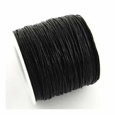 1 x Black Waxed Cotton 5m x 1mm Thong Cord Continuous Length Y06370
