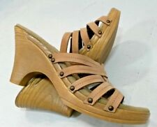 Bass Biella Beige Light Natural Leather Slides Sandals Shoes Strappy Women 8.5M