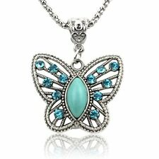 TURQUOISE BUTTERFLY RHINESTONE NECKLACE Boho Jewellery Gypsy Bohemian A105