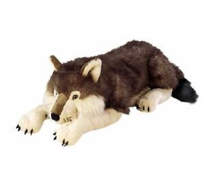 """Wolf Lying Jumbo Extra large plush toy 30""""/76cm stuffed animal Wild Republic NEW"""