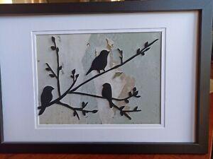 Silhouette Black Birds sitting on a branch Handmade Framed Room Decor