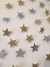 Gold & Silver Twinkle Glitter Star Bunting Garland 8m Wedding Decor (4m & 4m)