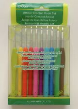 Clover 3672 Amour Crochet Hook Set 10/Pkg-Assorted Sizes *New *Free Shipping!
