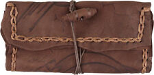 ORIG. HANDMADE GENUINE LEATHER TOBACCO POUCH ANTIQUE PYROGR. COMPARTMENT GUITAR