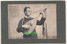 Pappfoto Mann mit Laute Gitarre Musikinstrument 1914 ! (F1887