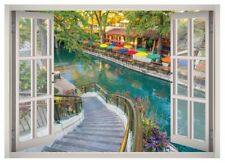 Colorful Place Window 3D Wall Decal Art Mural Home Decor Canvas Vinyl W192