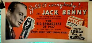 """poster on linen """"Jell-O"""" JACK BENNY The Big Broadcast of 1937 LINENBACKED Rare"""