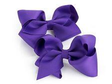 2 Large Purple Hair Bow Hair Clips Girls Women Accessory