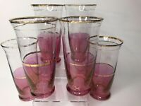 Vtg Glasses Set Of 6 Gold Rimmed Rose Red Clear MCM Barware