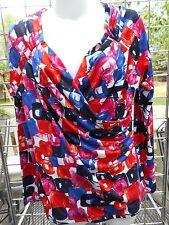 NWT-Premise-sz L-Knit wrap front top-raglan sleeve-red, blue, black, white