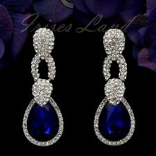 Rhodium Plated Sapphire Blue Crystal Rhinestone Drop Dangle Earrings 00135 New