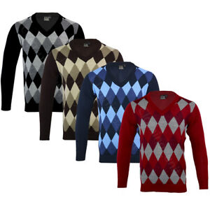 Mens Argyle V Neck Long Sleeve Sweater Jumper Golf Casual S-XXL