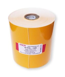 100mm x 40m Continuous Gloss Yellow vinyl label roll Outdoor KROY