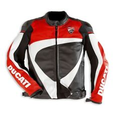 MULTICOLORED  DUCATI CORSE  MOTORBIKE RACING LEATHER JACKET CE APPROVED