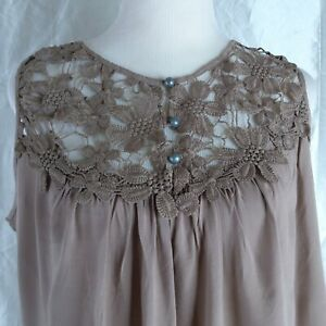 Entro Sleeveless Floral Crochet Blouse Open Back Button Front Size Large Brown