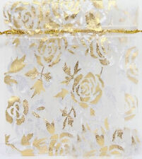 50/100Pcs Rose&Gold Organza Jewelry Packing Pouch Wedding Favor Gift Bag 9x7CM