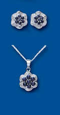 Argento Sterling Zaffiro & Diamante Parure Orecchini E Ciondolo A Fiore con