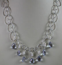 Bridal Statement Necklace & Earrings Set Blue Quartz & Pearls Sterling Silver