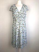 Monsoon tea dress size 14 Cat Print flare kitsch Rockabilly vintage style *flaw*