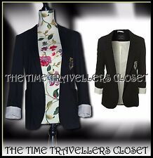 KATE MOSS TOPSHOP EARLY RARE BLACK BOYFRIEND BLAZER SCHOOL PREP JACKET UK 8 36 4