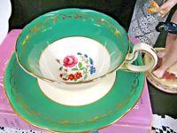 AYNSLEY tea cup and saucer green & floral rose teacup low Doris 1920s gold gilt