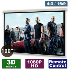 "New 100"" Electric Cinema Motorised Projector Screen Remote Matte White 4:3 16:9"