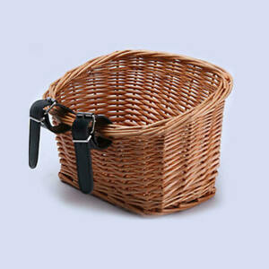 Ammaco 15L Vintage Style Wicker Front Bicycle Basket with Tan Straps