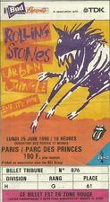 RARE / TICKET DE CONCERT - THE ROLLING STONES LIVE A PARIS FRANCE JUIN 1990