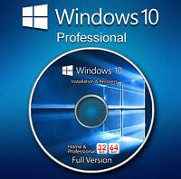 Microsoft Windows 10 Pro Professional 32 64 bit Product License Key CD DVD Disc