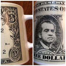 Vintage President Richard Nixon Picture $3 Dollar Bill Coffe Mug 1972 ceramic