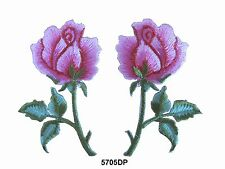 #5705DP Lot 2Pcs /Pair  Dark Pink Rose Flower Embroidery Iron On Appliqué Patch