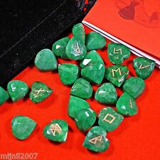 Norse Elder Futhark Faceted Emerald Heart Cut Runes & Red Cloth