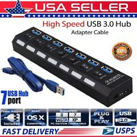 7 Port USB 3.0 Hub On/Off Switches AC Adapter Cable Splitter for Laptop/Desktop
