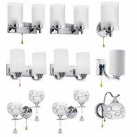 Modern Glass Wall Light Bulb LED Crystal Bedroom Sconce Lighting Lamp Fixture